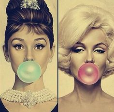 Audrey Hepburn & Marilyn Monroe doing bubbles More