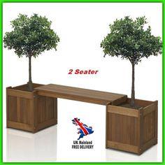 Garden Planter Bench 2 Seater Flower Box Patio Outdoor Wood Furniture Decor NEW #summerteakpatiofurniture