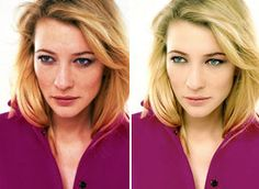 Cate Blanchett before and after retouching #fake #photoshop #beauty #image #body #unhealthy #retouch #skinny