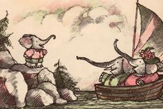 Arnold Lobel: Wrote and illustrated Owl At Home, Frog & Toad, Mouse Tale, others. He illustrated many classic books as well. Elephant Illustration, Children's Book Illustration, Elephant Love, Elephant Art, Arnold Lobel, Childhood Images, Children Books, Seahorses, Book Illustrations