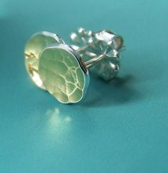 Tiny 18k Gold and Sterling Silver Pool Post Earrings by esdesigns, $32.00