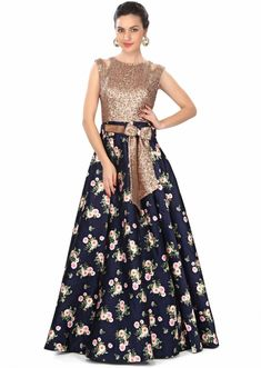 Navy blue gown features in sequin and floral print only on Kalki Pakistani Dresses, Indian Dresses, Indian Outfits, Jw Moda, Navy Blue Gown, Blue Bow, Floral Gown, Indian Attire, Indian Designer Wear