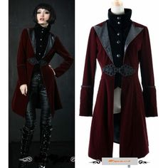 Mens Womens Red Edwardian Goth Fashion Long Jacket Windbreaker Clothing SKU-11401181