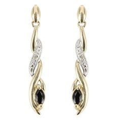 This stunning pair of long drop earrings are perfect for a glamorous occasion! This impressive design features a diamond set twist with a sapphire stone securely set in the focal point at the bottom of the drop. Perfect for special occasions, these earrings are secured with a butterfly back, and are suitable for pierced ears.