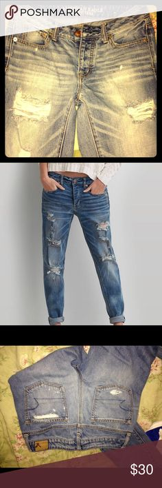 American Eagle Outfitters Boy Crop AEO Boy Crop size 0 rise high. The fit is zero baggy but can fit up to size four. If you love boyfriend fit these are the best. Button fly and go with EVERYTHING!!!  This is a perfect pair of jeans bought at American Eagle in the mall!  Looking for a good home 🏡! American Eagle Outfitters Jeans Boyfriend