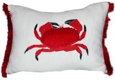 Hand Embroidered Crab Pillow / SKU 95A-2006