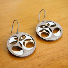 Laser cut birch wood earrings by Molly McGrath (Molly M Designs)