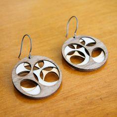 Laser cut birch wood earrings by Molly McGrath (Molly M Designs)