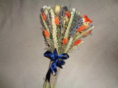 Rustic dried flower wedding bridal bouquet by FlowerDecoupage