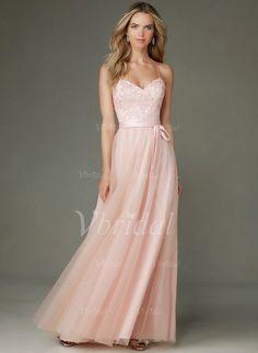Brautjungfernkleider - $123.92 - A-Linie/Princess-Linie Herzausschnitt Bodenlang Tüll Brautjungfernkleid mit Perlenstickerei Applikationen Spitze (0075093692)
