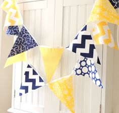 9 Feet Party Banner, 21 Flag Bunting, Navy Blue and Yellow Chevron, Polka Dots and Leaves, Summer, Wedding Decor