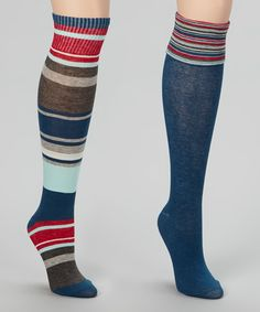 6fe44c05100 Chinese Laundry Blue   Gray Stripe Knee-High Socks Set