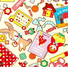 Mes Jolis Jouets Japanese Fabric in white 05 by HollandFabricHouse, $7.50