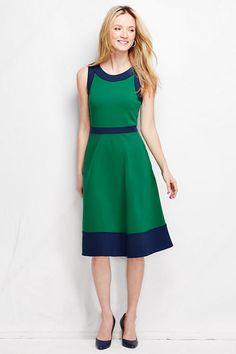 Women's Ponté Pieced A-line Dress - Colorblock from Lands' End #LandsEndLove