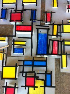 Mondrian kids art Piet Mondrian, Mondrian Kunst, Kindergarten Art Lessons, Art Lessons Elementary, Mondrian Art Projects, Ecole Art, Preschool Art, Art Lesson Plans, Art Classroom
