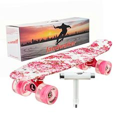 "CUSTOM Skateboard Retrò PONTE COMPLETO CRUISER Multicolore Board 22 /""ABEC7"