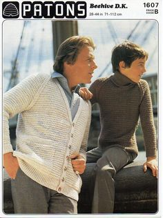 Mens Cardigan Polo neck Sweater mens knitting pattern PDF Download V neck Jacket…