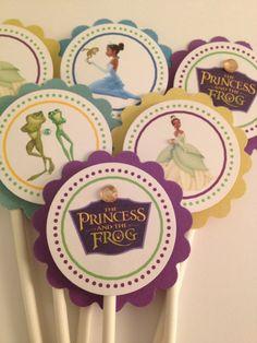 Princess Tiana cupcake toppers, Princess and the frog, 12 ready-to -ship via Etsy