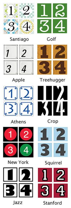 House number tiles----free  These go along with site's tutorial diy address number tiles.