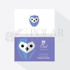 Business card template mockup with blue owl logo