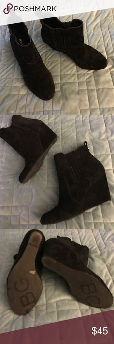 BCGC Generation Black Suede Booties Super cute black suede ankle booties by BCGCGeneration.  3 inch wedge heel and a super cushy footbed mean these boots are made for walkin!  Excellent condition, check out the pics.  Size 8.5.... 😎 BCBGeneration Shoes Ankle Boots & Booties