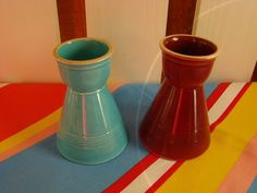 """Vintage Fiesta Egg Cup ( 2) Harlequin Rare Mint 3 3/4"""" Rose and Turquoise   eBay"""