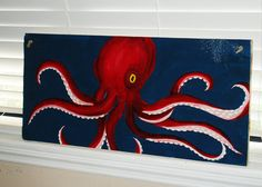 Octopus 24x11 Acrylic Painting on Plywood by tuesdaydesigns, $45.00