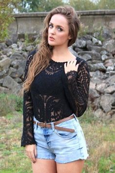 9c5d8b05694c4 Midnight Lace Top French Bohemian, Summer Ideas, Lace Tops, Ruffle Blouse,  Lace