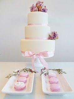 Wedding cake, pink and white