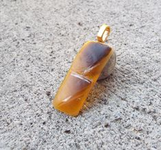 Brown Amber Fused Glass Pendant Necklace Glass by FancyThatFusion