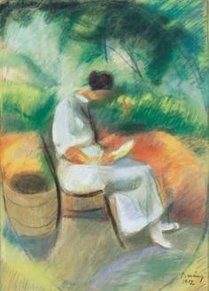 Róbert Berény (Hungarian, 1887–1953) - Reading woman in the villa garden, wife of the artist, Léni  (pastel)