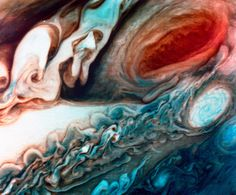 """humanoidhistory: """" Turbulent Jupiter, observed by NASA's Voyager 1 probe on March 1, 1979. (National Archives) """""""