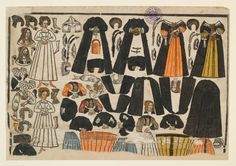 Paper dolls, woodblock print colored with watercolor, c. 1650, southern German.