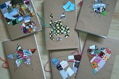 red bird crafts DIY journal covers using recycled paper.  cute idea, draw a picture then fill it in with small pieces cut from magazines.
