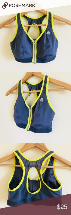 2c3e29c3d Shock Absorber Grey Yellow Zip Front Sports Bra Brand new! It was run  through of