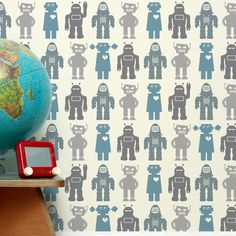 Found it at Wayfair - Analog 1' x 8'' Robots Wallpaper  Ernest likes this wall paper