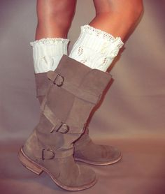 Knitted Cream Leg Warmers- Knee High Leg Warmers with Crochet and Button Detail- Tall Boot Socks