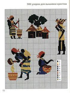 0 point de croix femmes africaines travaillant - cross stitch african women working in their village