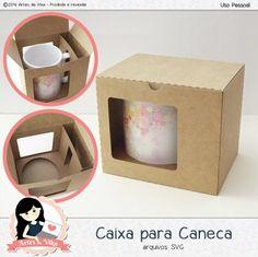 Arquivo de Corte Caixa para Caneca by Vika Matos