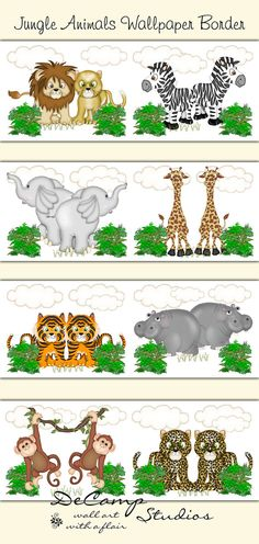Noah's Ark Wallpaper Border Wall Decals for baby girl or