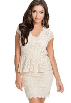 Sexy Flawless Lace Ivory Peplum Dress