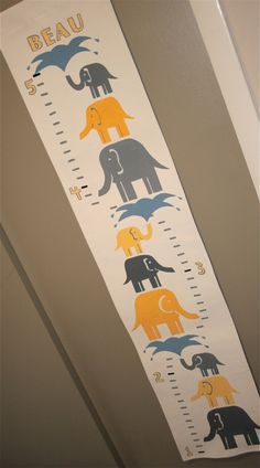Growth Chart - Yellow and Gray Elephants - Personalized with Name - Handpainted Canvas by FortunatelyCrafted on Etsy https://www.etsy.com/listing/122459499/growth-chart-yellow-and-gray-elephants