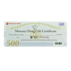 Mercury Drugis the leading trusted and caring drug store in the Philippines!  A Gift Certificate for your Mercury Drug Store purchases.  Denomination: 500  Honored at all branches.