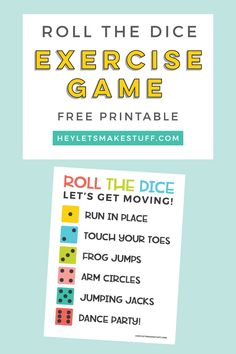 Keep your kids moving when they're stuck inside with this simple roll the exercise dice game! This game requires minimal materials so it's easy for everyone to get some exercise! Exercise Activities, Exercise For Kids, Physical Activities, Activities For Kids, Kids Workout, Physical Education, Preschool Movement Activities, Preschool Rules, Elderly Activities