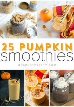 25 Amazing Pumpkin Smoothie Recipes {easy + delish} You'll love these pumpkin smoothie recipes! Pin it now and make one later!