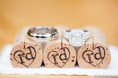 little details:: hand-stamped monogram wine corks