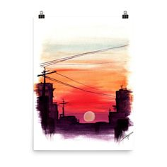 Items similar to Watercolor sunset painting print on Etsy Watercolor sunset painting print Watercolor Sunset, Watercolor Landscape, Abstract Watercolor, Watercolor Illustration, Watercolor Paintings, Painting & Drawing, Simple Watercolor, Tattoo Watercolor, Watercolor Trees