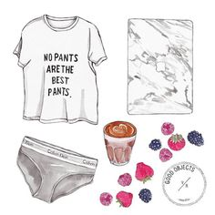 Good objects - Sunday mood - No pants are the best pants #watercolor #goodobjects #illustration #marble #fruits #coffee