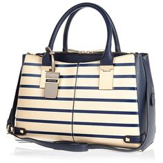 River Island Cream stripe snake print boxy tote bag (£25) ❤ liked on Polyvore featuring bags, handbags, tote bags, cream, sale, long strap purse, tote purses, white tote bag, pattern tote bag and snake print purse