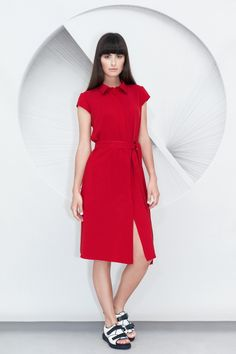 This Belted Shirt Dress is made from soft silk viscose blend fabric. A relaxed silhouette, it features a matching fabric belt, short sleeves and a partially concealed zip fastenings through front. Knife Pleated Skirt, Belted Shirt Dress, Preppy, Going Out, High Neck Dress, Dresses For Work, Classy, Silk, Elegant